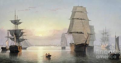 Boston Harbor, Sunset Poster by Fitz Henry Lane
