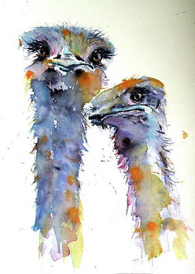 Poster featuring the painting Ostriches by Kovacs Anna Brigitta