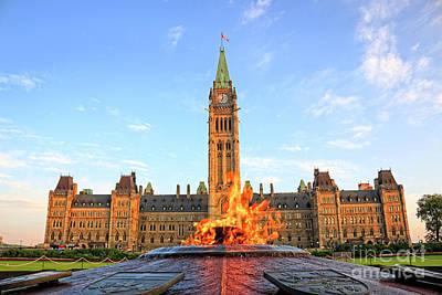 Ottawa Parliament Hill With Centennial Flame Poster