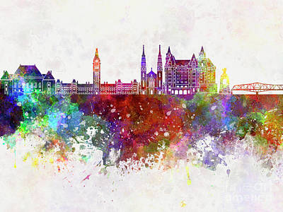 Ottawa V2 Skyline In Watercolor Background Poster