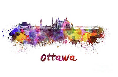 Ottawa V2 Skyline In Watercolor Poster