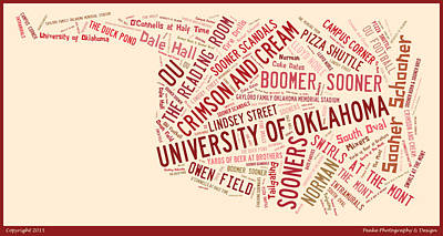 Ou Word Art University Of Oklahoma Poster by Roberta Peake