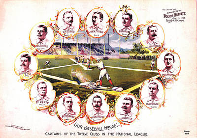 Our Baseball Heroes Poster by Charles Shoup