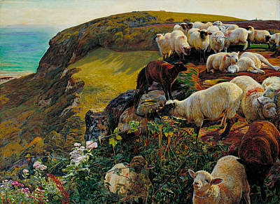 Our English Coasts Or Strayed Sheep Poster by William Holman Hunt