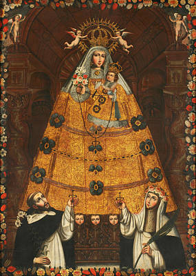 Our Lady Of The Rosary With Saint Dominic And Saint Rose  Poster