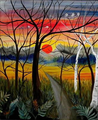 Poster featuring the painting Out Of The Woods by Renate Nadi Wesley