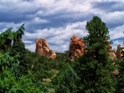 Poster featuring the digital art outcroppings in Colorado Springs by Chris Flees