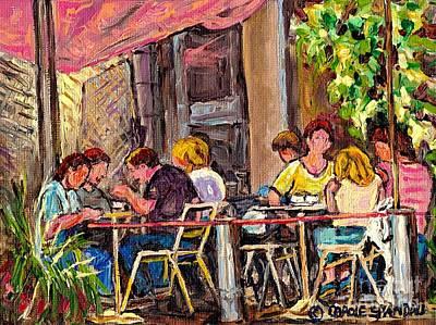 Outdoor Cafe Paintings Paris Style Sidewalk Terrace Rue St Denis Original Bistro Art Carole Spandau  Poster