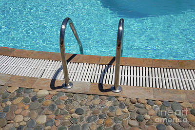 Outdoor Swimming Pool Ladder.  Poster