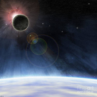 Poster featuring the digital art Outer Atmosphere Of Planet Earth by Phil Perkins