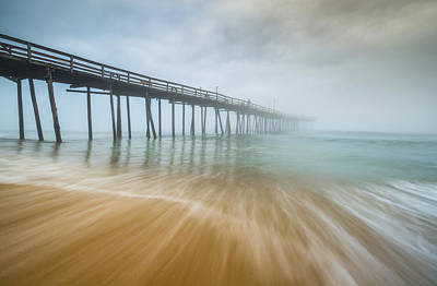 Outer Banks North Carolina Nags Head Obx Nc Beach Pier Seascape Poster by Dave Allen