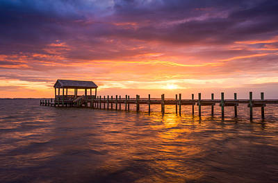 Outer Banks North Carolina Nags Head Sunset Nc Scenic Landscape Poster by Dave Allen