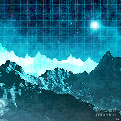 Poster featuring the digital art Outer Space Mountains by Phil Perkins