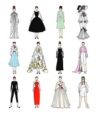 Outfits Of Audrey Fashion Poster by Notsniw Art