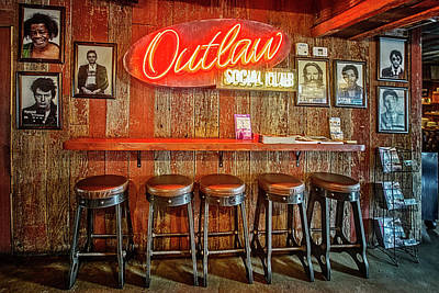 Outlaw Social Club Poster by Debra and Dave Vanderlaan