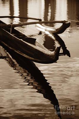 Outrigger Canoe - Sepia Poster by Dana Edmunds - Printscapes