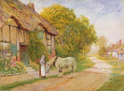 Outside The Village Inn Poster by Arthur Claude Strachan