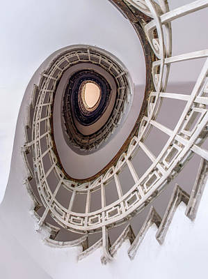 Oval Staircase In Light Tones Poster