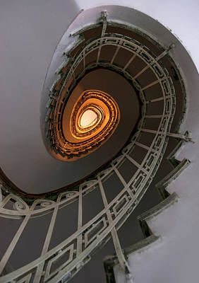 Oval Staircase With Golden Lights Poster