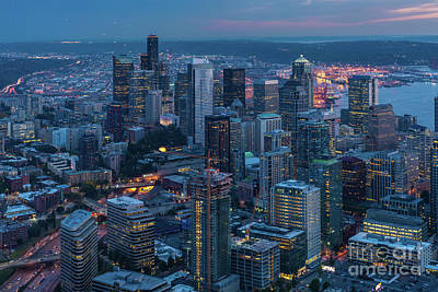 Over Seattle A Beautiful Downtown Poster by Mike Reid