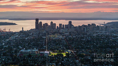 Over Seattle And Capitol Hill At Sunset Poster by Mike Reid