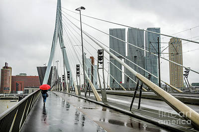 Over The Erasmus Bridge In Rotterdam With Red Umbrella Poster by RicardMN Photography