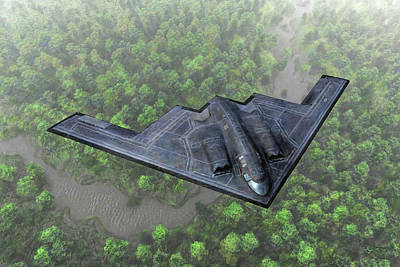Poster featuring the painting Over The River And Through The Woods In A Stealth Bomber by Dave Luebbert