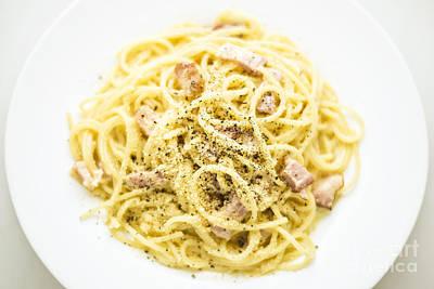 Overhead View Of Spaghetti Carbonara Italian Pasta Dish  Poster by Jacek Malipan