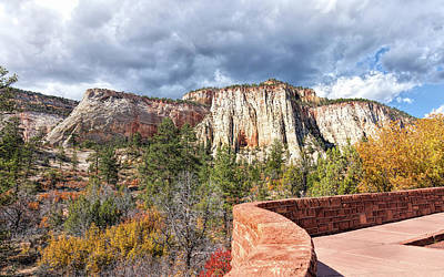 Poster featuring the photograph Overlook In Zion National Park Upper Plateau by John M Bailey