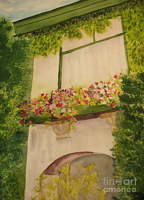 Poster featuring the painting Overlooking Butchard Gardens  by Vicki  Housel