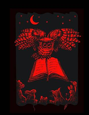 Owl And Friends Redblack Poster