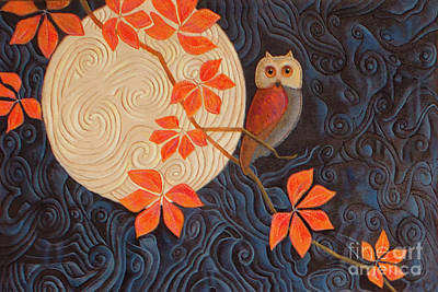 Owl And Moon On A Quilt Poster by Nancy Lee Moran