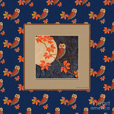 Owl And Moon On Midnight Blue Poster