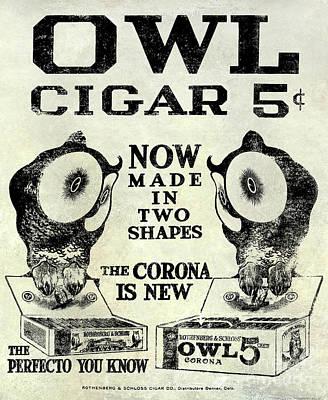 Owl Cigar Advertisement 1909 Poster by Jon Neidert
