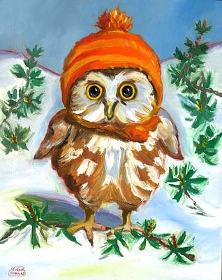 Poster featuring the painting Owl In Orange Hat by Susan Thomas