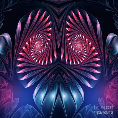 Poster featuring the digital art Owl by Jutta Maria Pusl