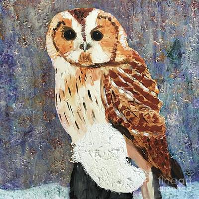 Owl On Snow Poster by Donald J Ryker III