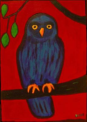 Poster featuring the painting Owl Uggla by Zeke Nord
