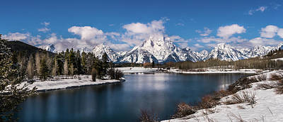 Oxbow Bend In Winter Poster by TL Mair