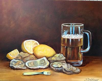 Poster featuring the painting Oysters And Beer by Susan Dehlinger