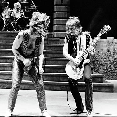 Poster featuring the photograph Ozzy Osbourne And Randy Rhoads 1981 - Square by Chris Walter