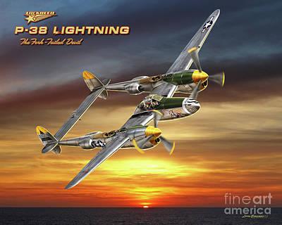P-38 Lightning At Sunset Poster by Larry Grossman