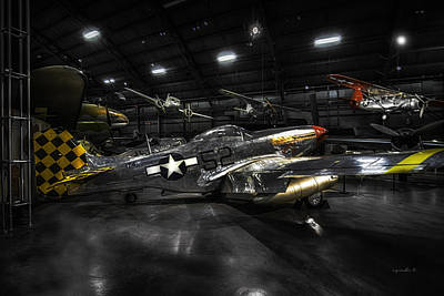 P 51 Mustang H D R_ W P A F Museum Poster