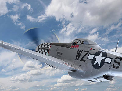 P51 In The Clouds Poster by Gill Billington
