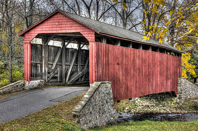 Pa Country Roads - Poole Forge Covered Bridge Over Conestoga Creek No. 3b-alt - Lancaster Poster by Michael Mazaika