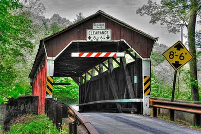 Pa Country Roads - Richards Covered Bridge Over Roaring Creek No. 6b-alt - Columbia County Poster
