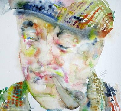 Pablo Neruda - Watercolor Portrait.6 Poster by Fabrizio Cassetta