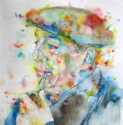 Pablo Neruda - Watercolor Portrait.7 Poster by Fabrizio Cassetta