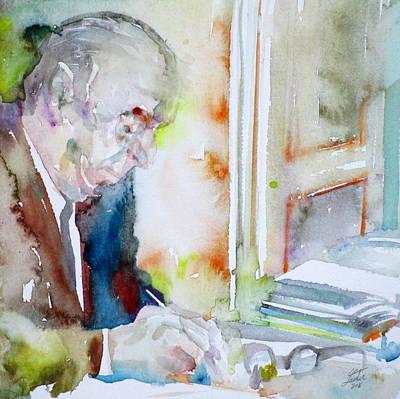 Pablo Neruda - Watercolor Portrait.8 Poster by Fabrizio Cassetta