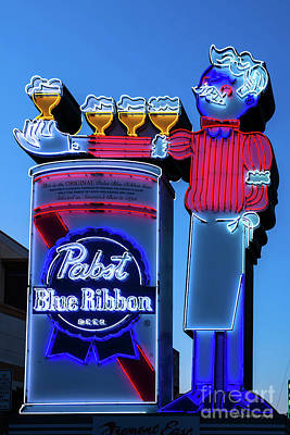 Pabst Blue Ribbon Neon Sign Fremont Street Poster by Aloha Art